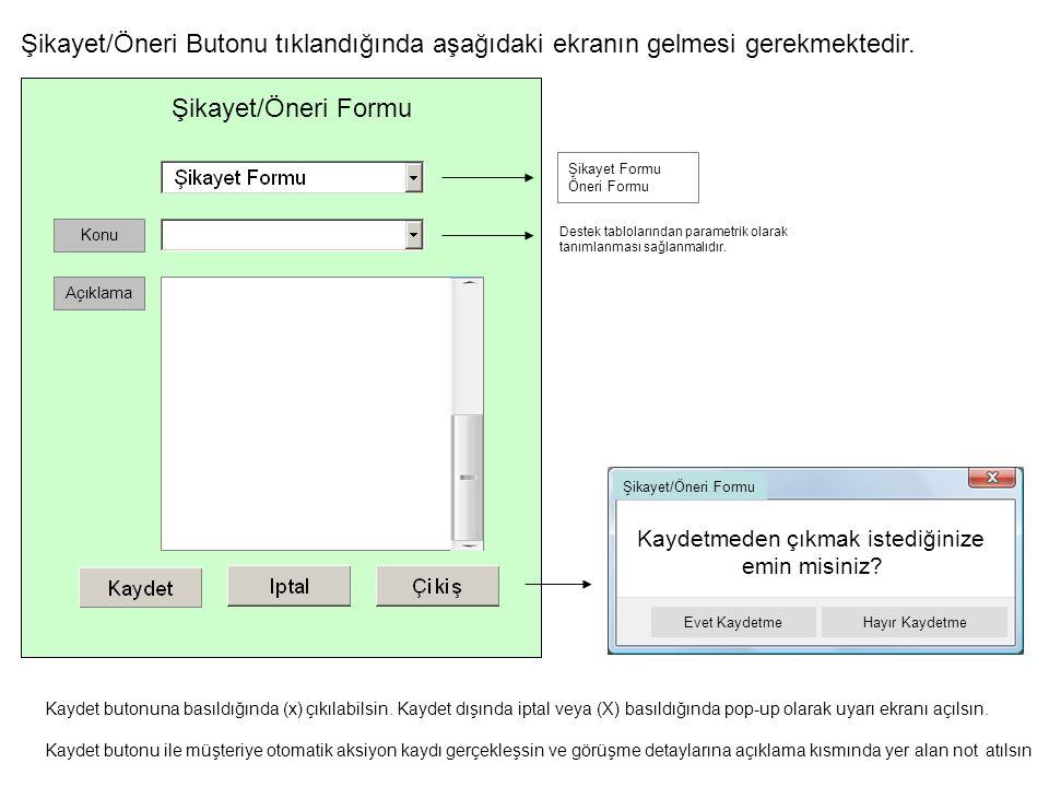 Şikayet/Öneri Butonu tıklandığında aşağıdaki ekranın gelmesi gerekmektedir.