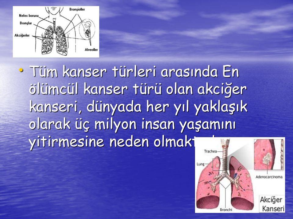 Günümüzde akciğer kanseri, kadınlarda ölüme sebebiyet veren kanser türleri arasında en ön sırada yer almaktadır.
