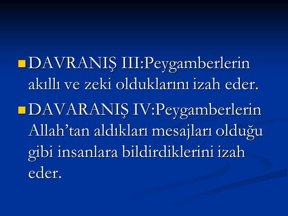 DAVRANIŞ III:Peygamberlerin akıllı ve zeki olduklarını izah eder. DAVARANIŞ IV:Peygamberlerin Allah'tan aldıkları mesajları olduğu gibi insanlara bild