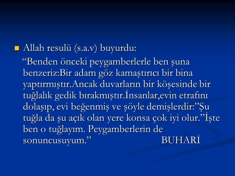 """Allah resulü (s.a.v) buyurdu: """"Benden önceki peygamberlerle ben şuna benzeriz:Bir adam göz kamaştırıcı bir bina yaptırmıştır.Ancak duvarların bir köşe"""