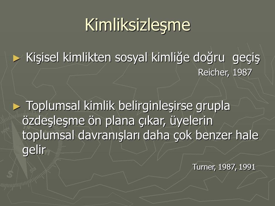 Kimliksizleşme ► Kişisel kimlikten sosyal kimliğe doğru geçiş Reicher, 1987 Reicher, 1987 ► Toplumsal kimlik belirginleşirse grupla özdeşleşme ön plana çıkar, üyelerin toplumsal davranışları daha çok benzer hale gelir Turner, 1987, 1991 Turner, 1987, 1991
