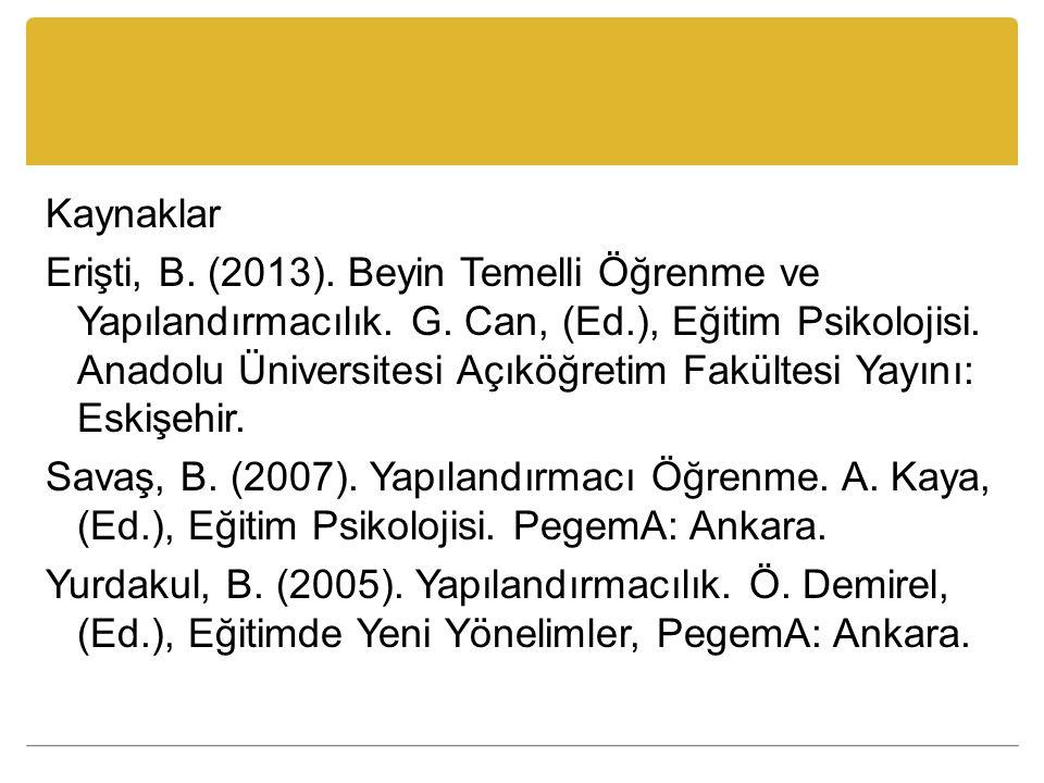 Kaynaklar Erişti, B. (2013). Beyin Temelli Öğrenme ve Yapılandırmacılık. G. Can, (Ed.), Eğitim Psikolojisi. Anadolu Üniversitesi Açıköğretim Fakültesi