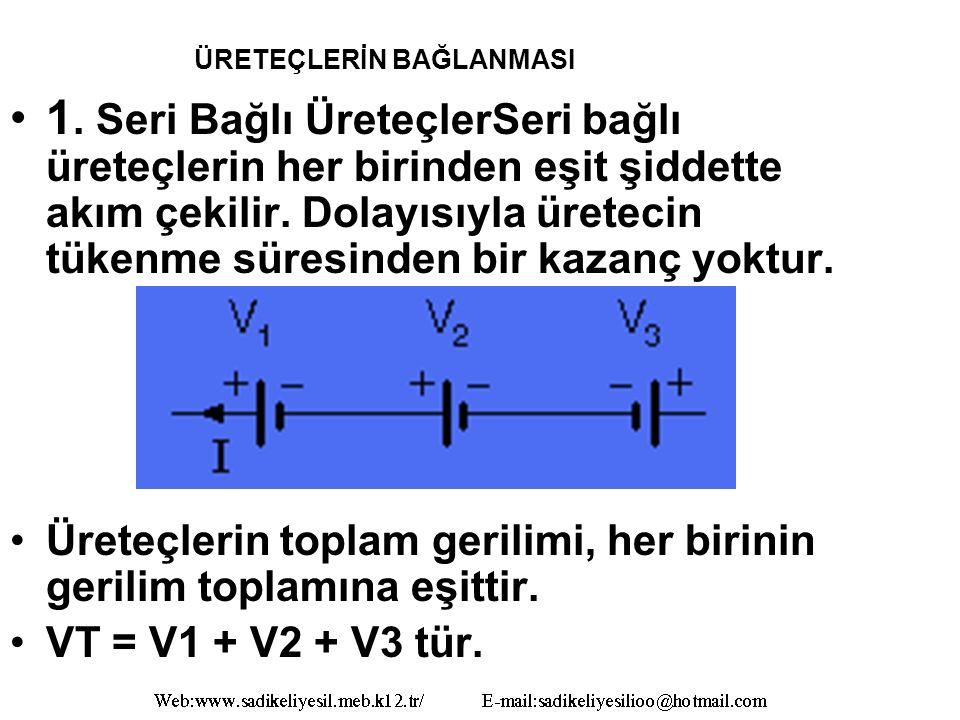ÜRETEÇLERİN BAĞLANMASI 1.