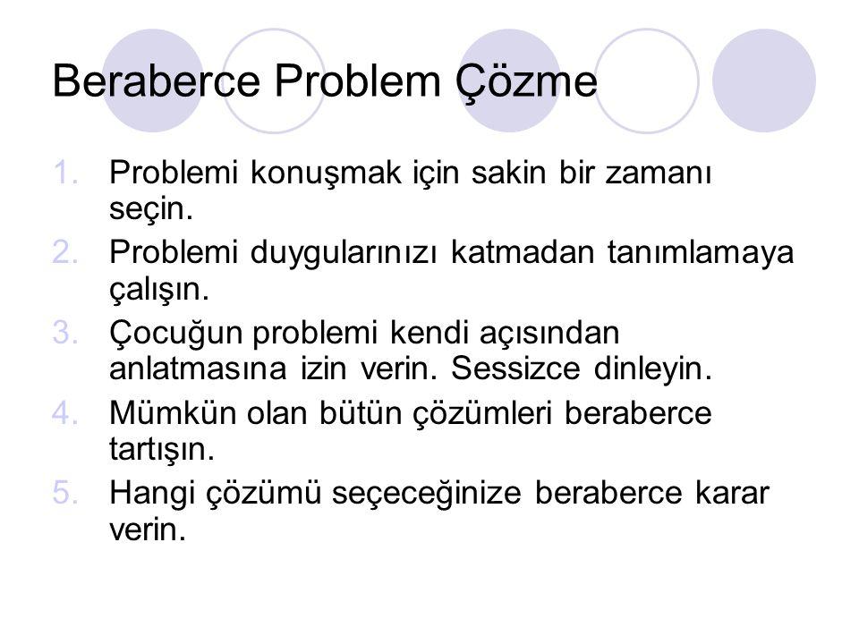 Beraberce Problem Çözme 1.Problemi konuşmak için sakin bir zamanı seçin.