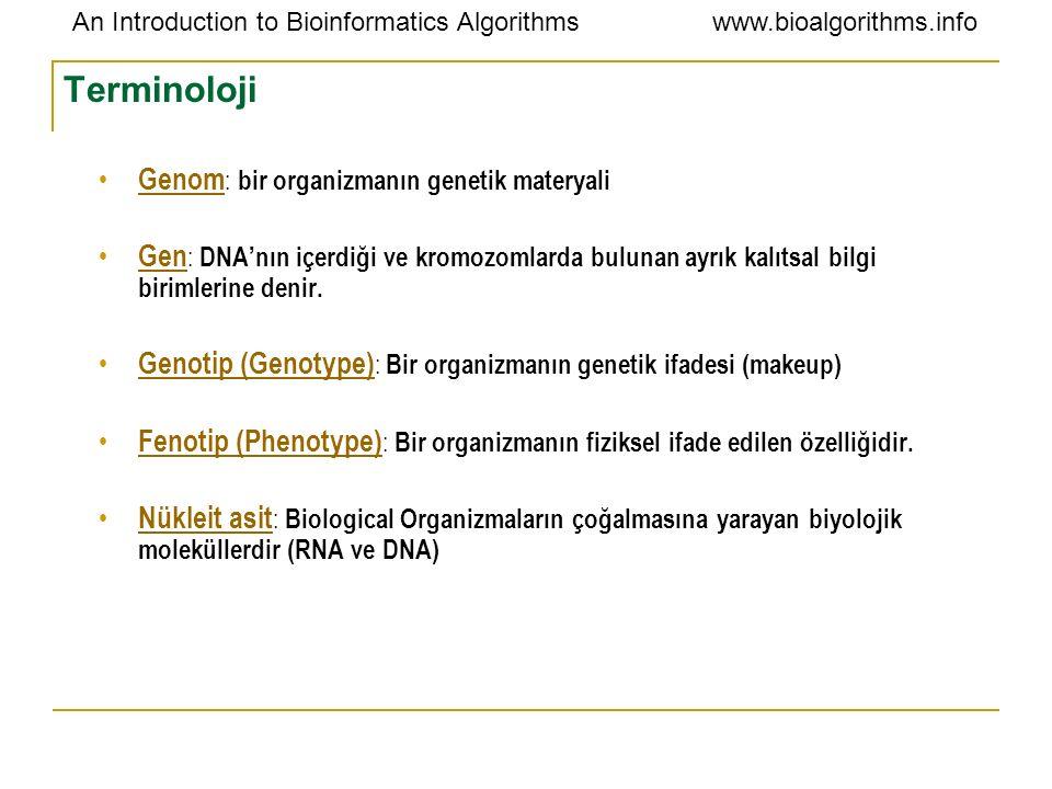 An Introduction to Bioinformatics Algorithmswww.bioalgorithms.info Terminoloji Genom : bir organizmanın genetik materyali Gen : DNA'nın içerdiği ve kr