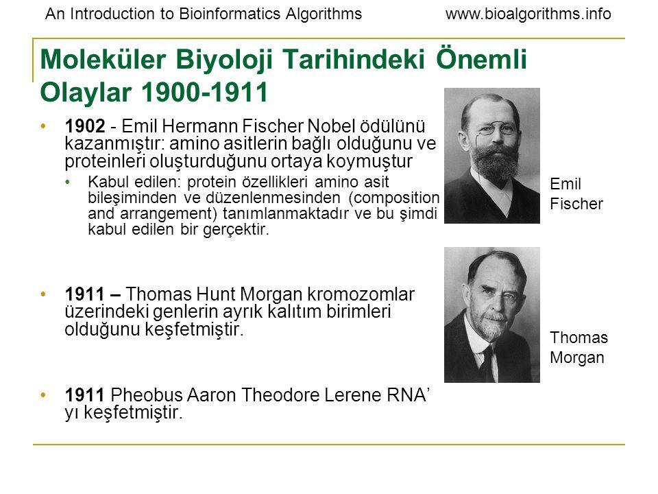 An Introduction to Bioinformatics Algorithmswww.bioalgorithms.info Moleküler Biyoloji Tarihindeki Önemli Olaylar 1940 - 1950 1941 – George Beadle and Edward Tatum genlerin proteinleri oluşturduğunu belirlemişlerdir.