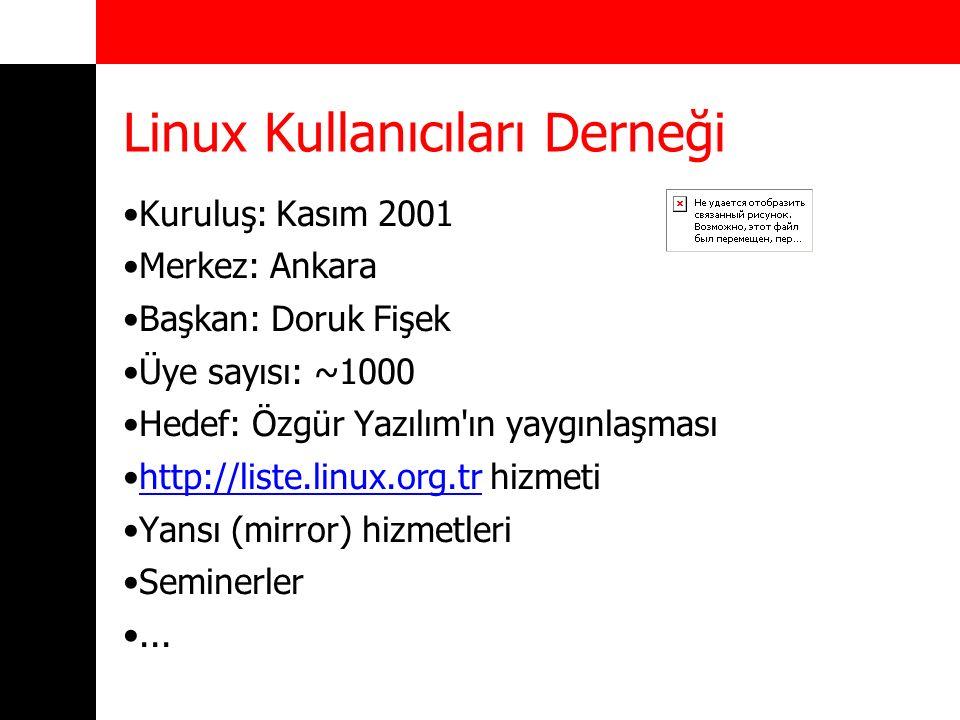 Linux Kullanıcıları Derneği Kuruluş: Kasım 2001 Merkez: Ankara Başkan: Doruk Fişek Üye sayısı: ~1000 Hedef: Özgür Yazılım'ın yaygınlaşması http://list