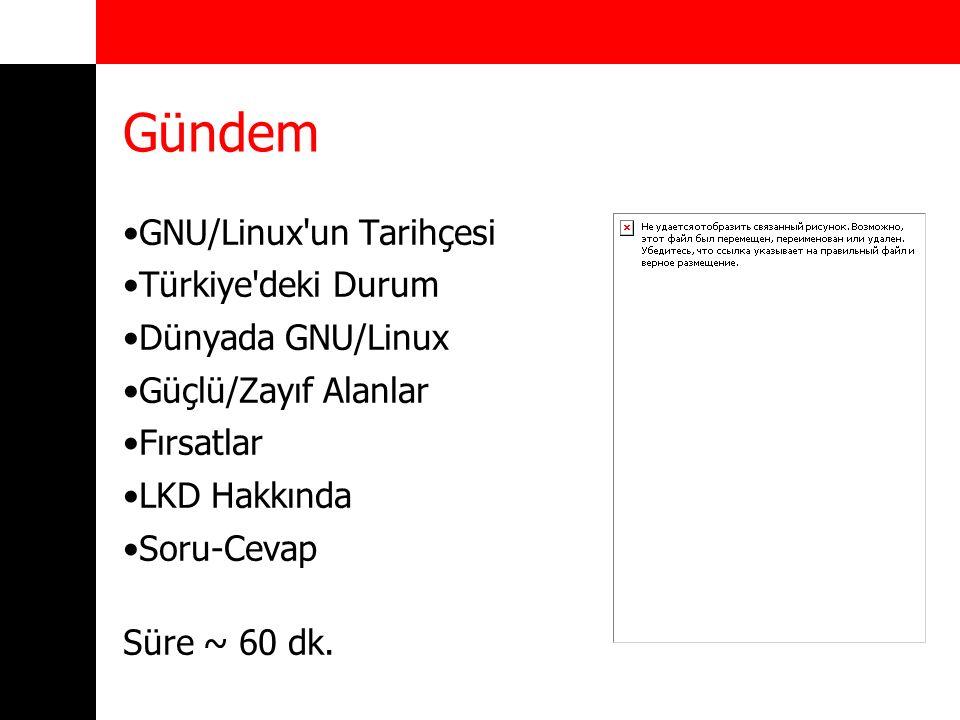 Gündem GNU/Linux'un Tarihçesi Türkiye'deki Durum Dünyada GNU/Linux Güçlü/Zayıf Alanlar Fırsatlar LKD Hakkında Soru-Cevap Süre ~ 60 dk.