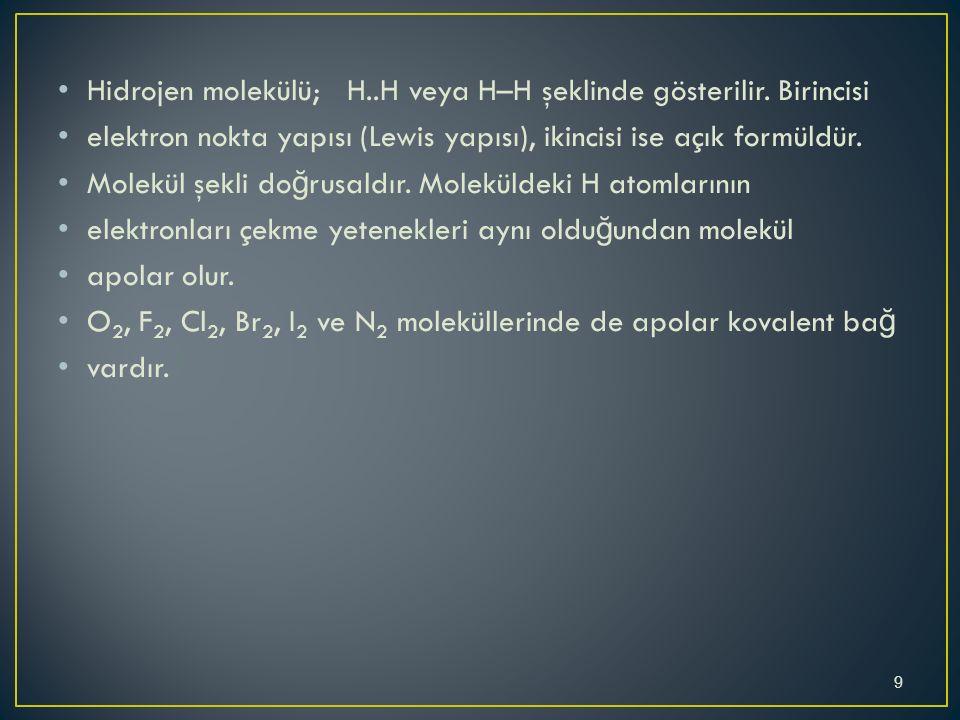 Hidrojen molekülü; H..H veya H–H şeklinde gösterilir.
