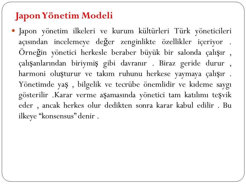 Japon Yönetim Modeli Japon yönetim ilkeleri ve kurum kültürleri Türk yöneticileri açısından incelemeye de ğ er zenginlikte özellikler içeriyor.
