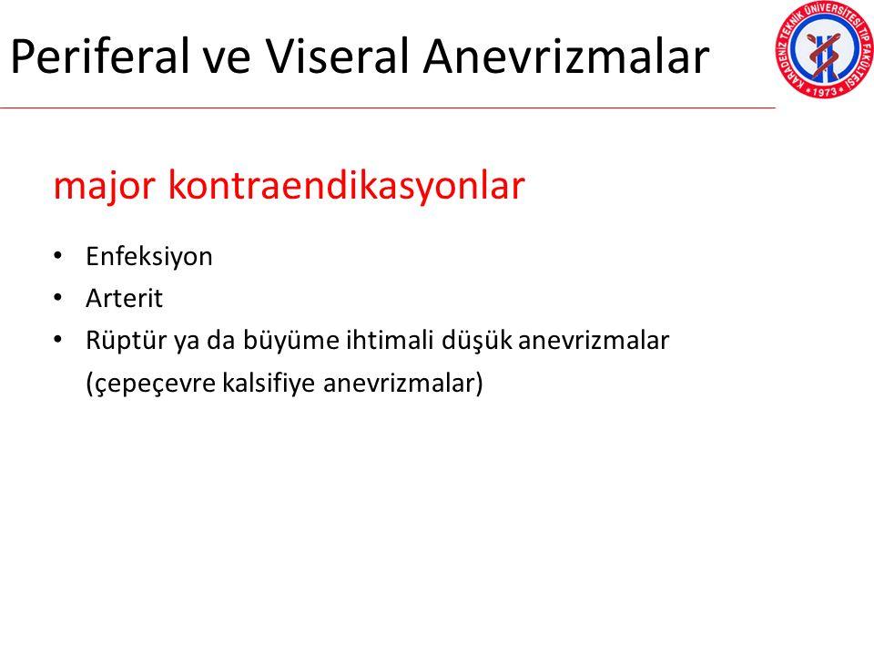 Periferal ve Viseral Anevrizmalar major kontraendikasyonlar Enfeksiyon Arterit Rüptür ya da büyüme ihtimali düşük anevrizmalar (çepeçevre kalsifiye anevrizmalar)