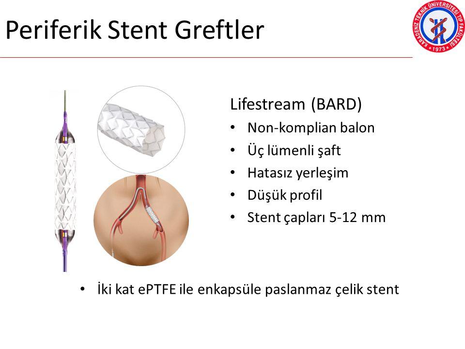 Periferik Stent Greftler Lifestream (BARD) Non-komplian balon Üç lümenli şaft Hatasız yerleşim Düşük profil Stent çapları 5-12 mm İki kat ePTFE ile enkapsüle paslanmaz çelik stent