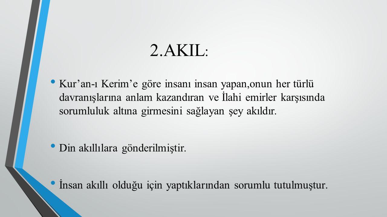 2.AKIL : Kur'an-ı Kerim'e göre insanı insan yapan,onun her türlü davranışlarına anlam kazandıran ve İlahi emirler karşısında sorumluluk altına girmesi