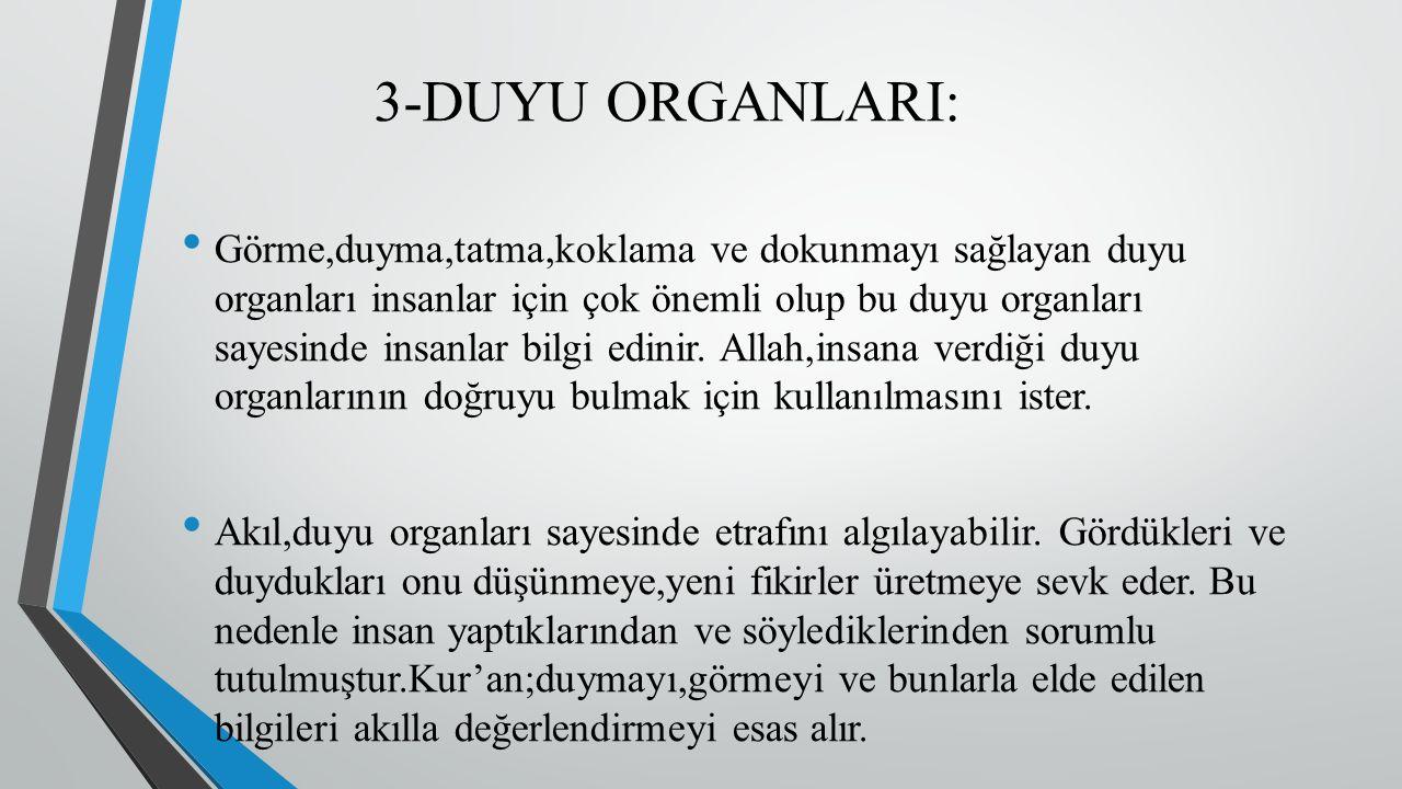 3-DUYU ORGANLARI: Görme,duyma,tatma,koklama ve dokunmayı sağlayan duyu organları insanlar için çok önemli olup bu duyu organları sayesinde insanlar bilgi edinir.