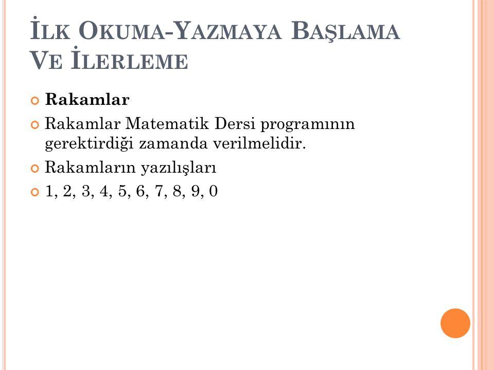 İ LK O KUMA -Y AZMAYA B AŞLAMA V E İ LERLEME Rakamlar Rakamlar Matematik Dersi programının gerektirdiği zamanda verilmelidir. Rakamların yazılışları 1