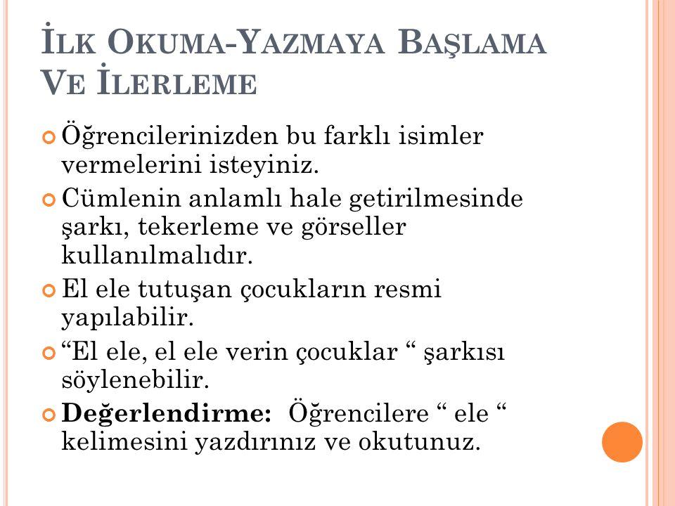 İ LK O KUMA -Y AZMAYA B AŞLAMA V E İ LERLEME Açık Heceye Ulaşma ele kelimesinden yararlanarak le hecesine ulaşmak için aşağıdaki sıra takip edilmelidir.