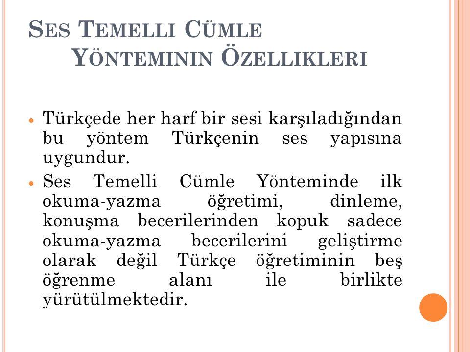 S ES T EMELLI C ÜMLE Y ÖNTEMININ Ö ZELLIKLERI  Türkçede her harf bir sesi karşıladığından bu yöntem Türkçenin ses yapısına uygundur.  Ses Temelli Cü