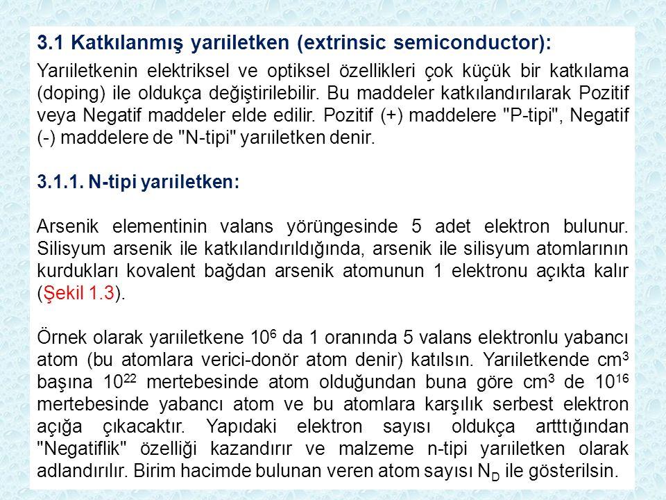 3.1 Katkılanmış yarıiletken (extrinsic semiconductor): Yarıiletkenin elektriksel ve optiksel özellikleri çok küçük bir katkılama (doping) ile oldukça