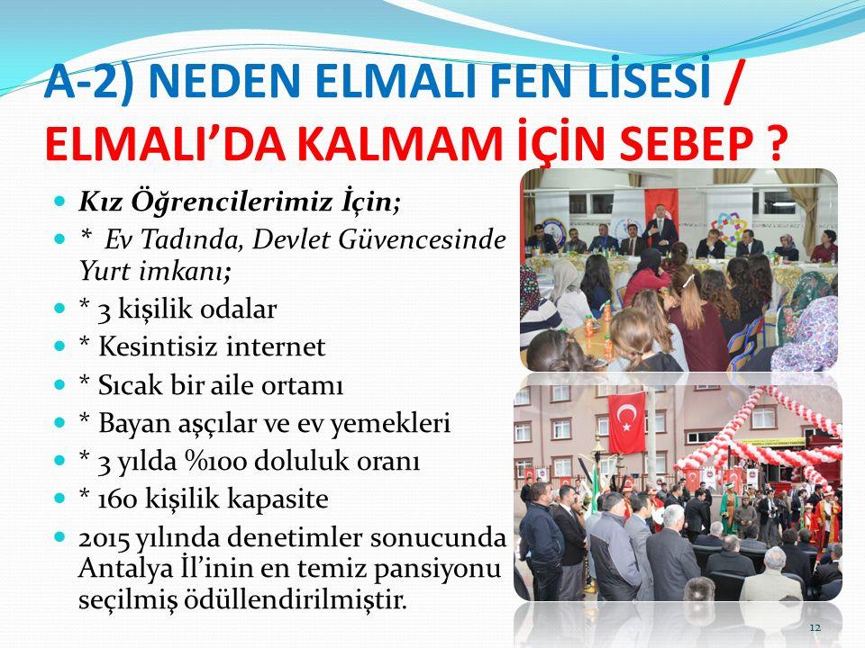 A-2) NEDEN ELMALI FEN LİSESİ / ELMALI'DA KALMAM İÇİN SEBEP .