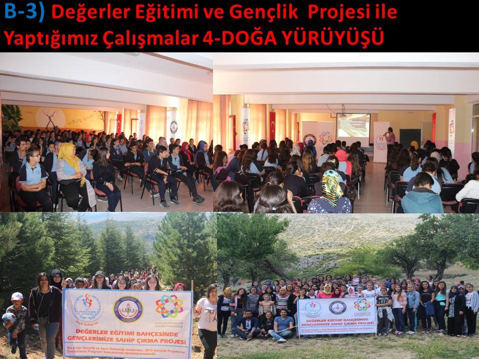 20 B-3) Değerler Eğitimi ve Gençlik Projesi ile Yaptığımız Çalışmalar 4-DOĞA YÜRÜYÜŞÜ