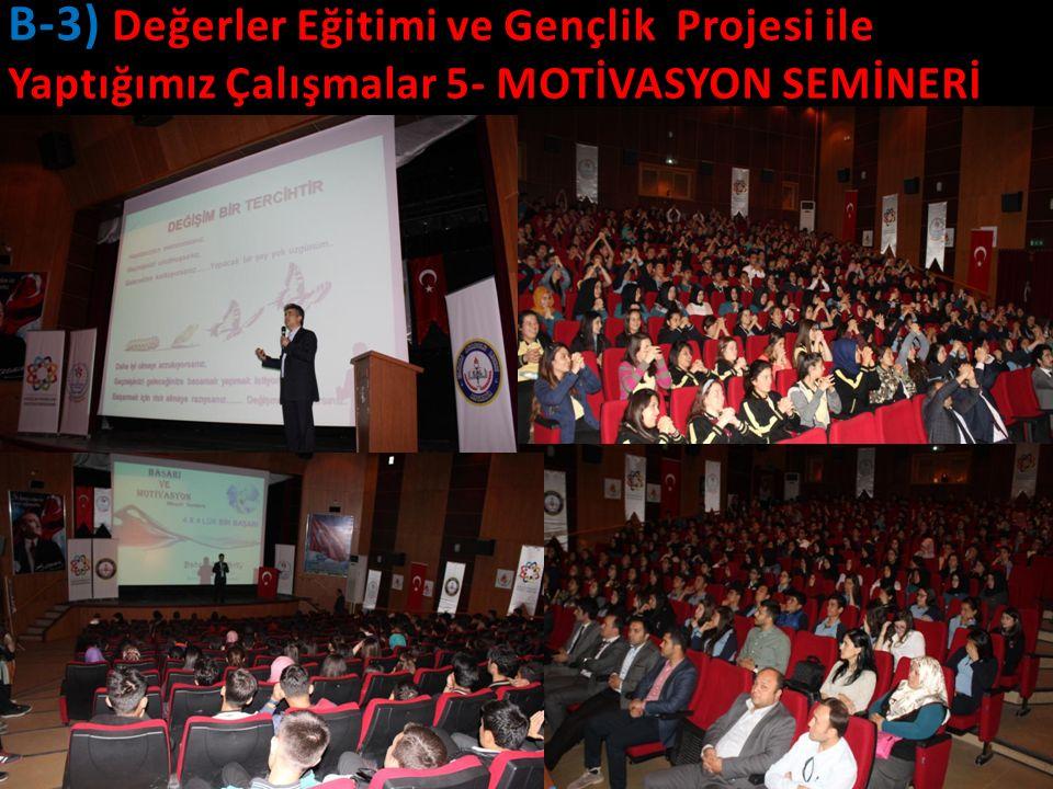 21 B-3) Değerler Eğitimi ve Gençlik Projesi ile Yaptığımız Çalışmalar 5- MOTİVASYON SEMİNERİ