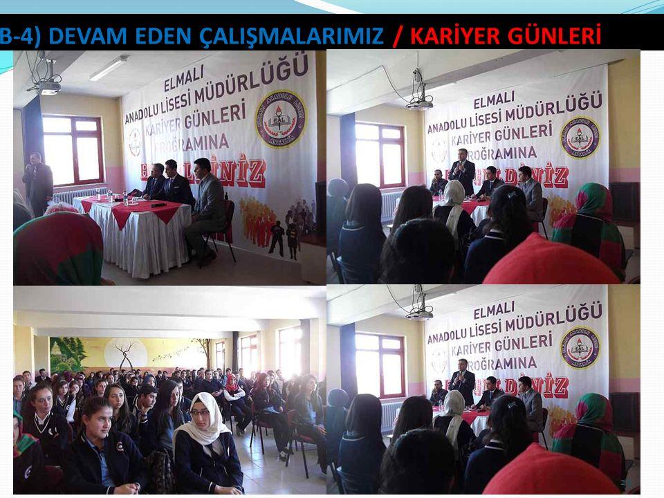 23 B-4) DEVAM EDEN ÇALIŞMALARIMIZ / KARİYER GÜNLERİ