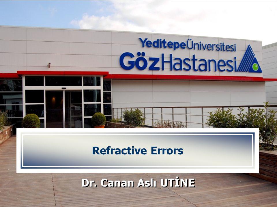YEDİTEPE ÜNİVERSİTESİ GÖZ HASTANESİ Refractive Errors Dr. Canan Aslı UTİNE