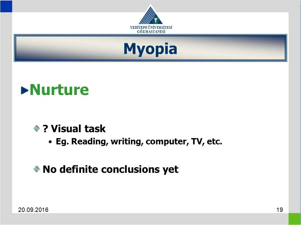 YEDİTEPE ÜNİVERSİTESİ GÖZ HASTANESİ 20.09.201619 Myopia Nurture .