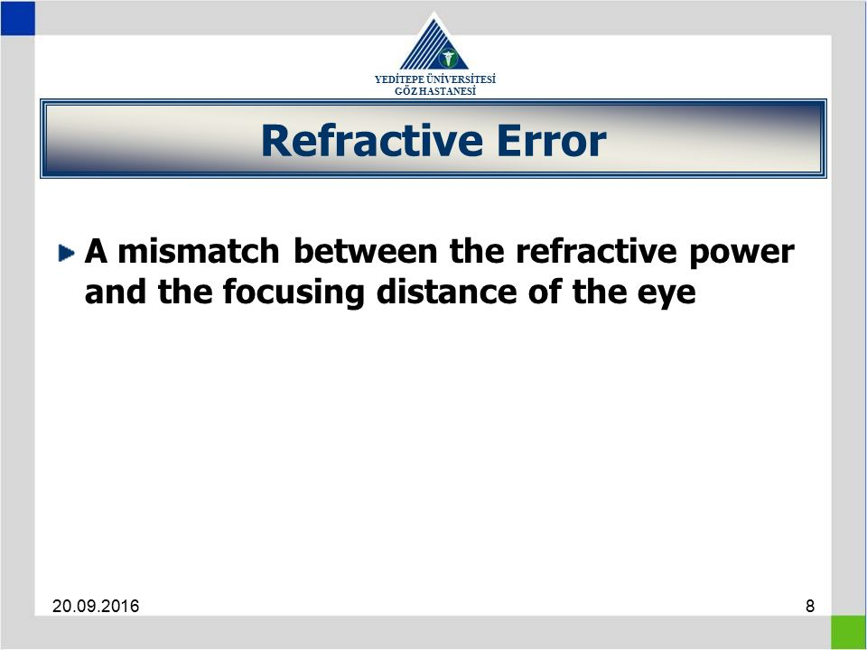 YEDİTEPE ÜNİVERSİTESİ GÖZ HASTANESİ 20.09.20168 Refractive Error A mismatch between the refractive power and the focusing distance of the eye