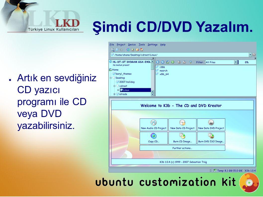 Şimdi CD/DVD Yazalım. ● Artık en sevdiğiniz CD yazıcı programı ile CD veya DVD yazabilirsiniz.