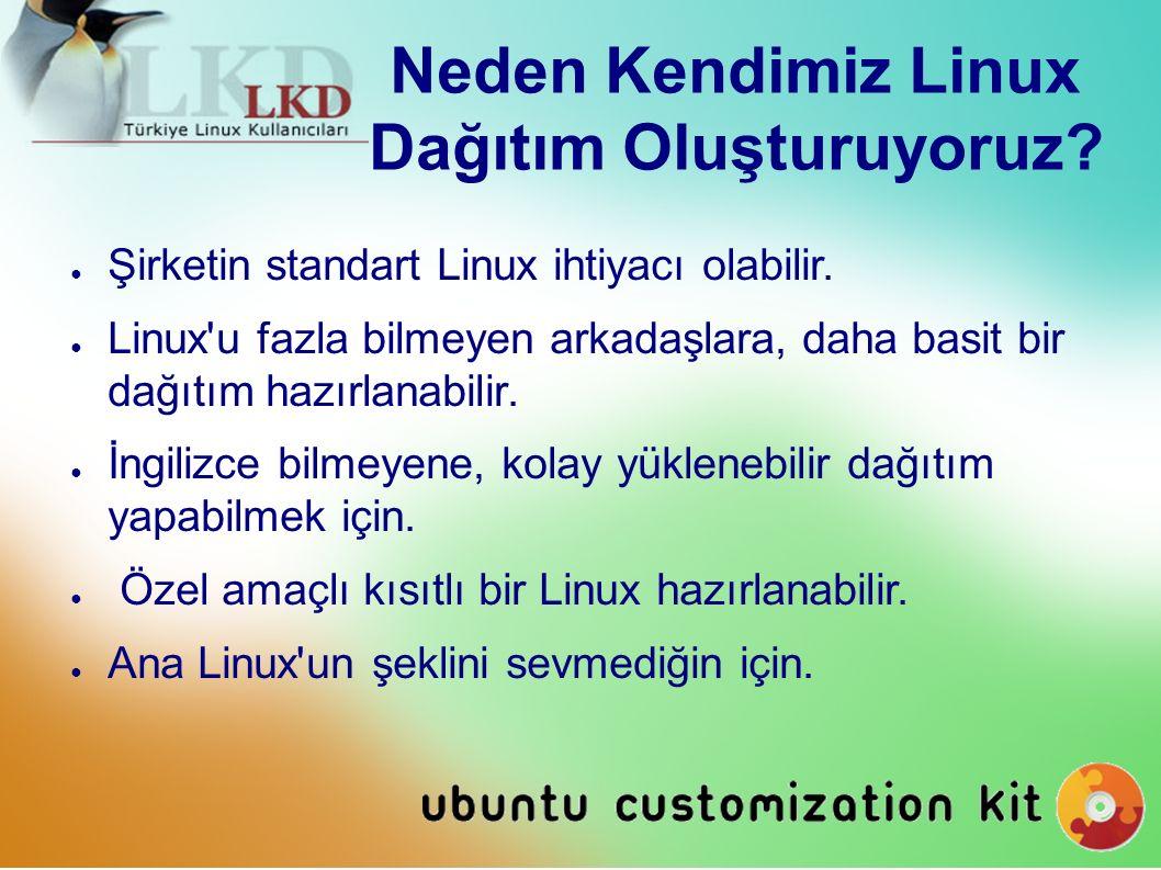 Neden Kendimiz Linux Dağıtım Oluşturuyoruz. ● Şirketin standart Linux ihtiyacı olabilir.