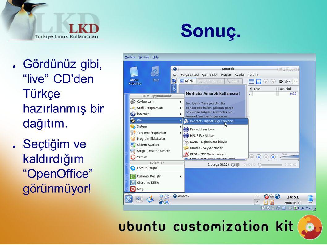 Sonuç. ● Gördünüz gibi, live CD den Türkçe hazırlanmış bir dağıtım.