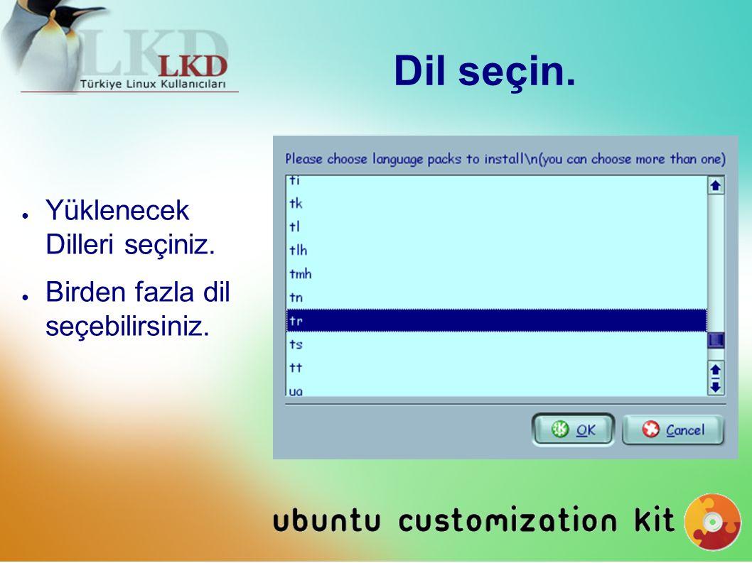 CD Boot Dili Seçin.● CD boot dilini seçebilirsiniz.