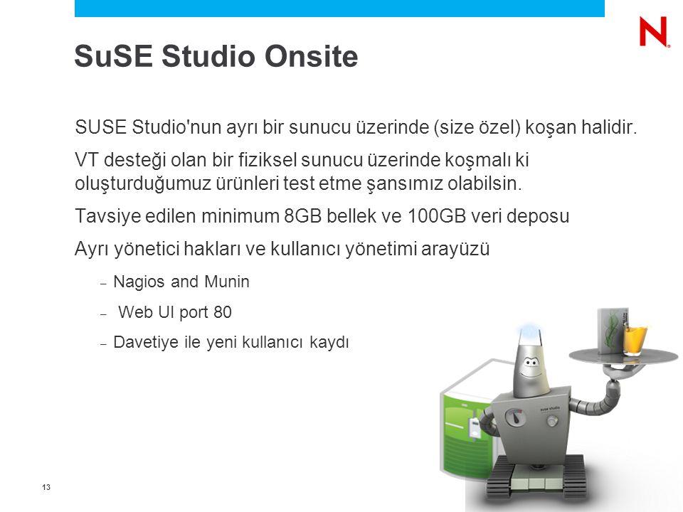 1313 SuSE Studio Onsite SUSE Studio'nun ayrı bir sunucu üzerinde (size özel) koşan halidir. VT desteği olan bir fiziksel sunucu üzerinde koşmalı ki ol