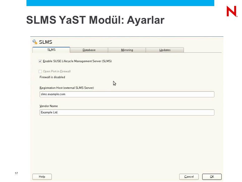 1717 SLMS YaST Modül: Ayarlar