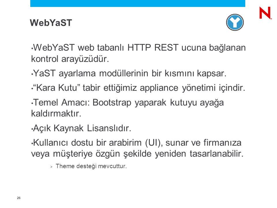 2626 WebYaST web tabanlı HTTP REST ucuna bağlanan kontrol arayüzüdür.
