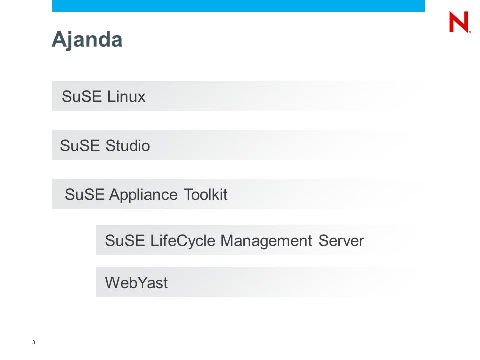 3 SuSE Linux Ajanda SuSE LifeCycle Management Server WebYast SuSE Studio SuSE Appliance Toolkit