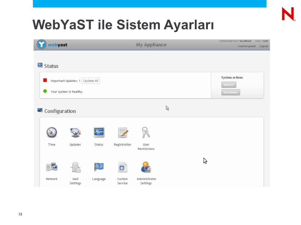 3232 WebYaST ile Sistem Ayarları