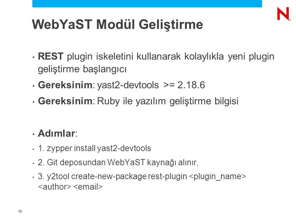3535 WebYaST Modül Geliştirme REST plugin iskeletini kullanarak kolaylıkla yeni plugin geliştirme başlangıcı Gereksinim: yast2-devtools >= 2.18.6 Gereksinim: Ruby ile yazılım geliştirme bilgisi Adımlar: 1.