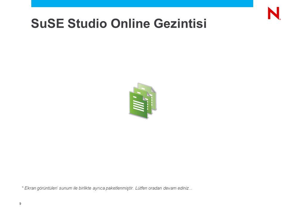 9 SuSE Studio Online Gezintisi * Ekran görüntüleri sunum ile birlikte ayrıca paketlenmiştir.