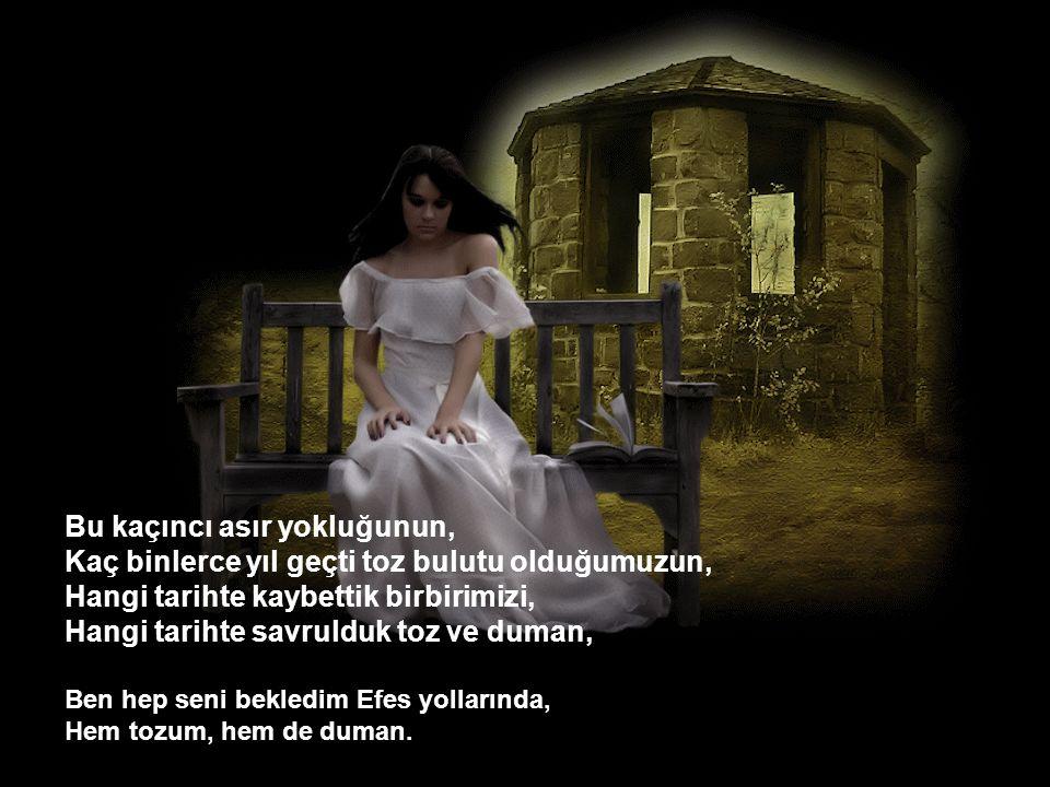 Asırlardır beklediğim, Ruhumu kor ateşlerde demlediğim, Kan kırmızı aşk acısını gözlerimde bildiğim, Cennette, cehennem acısını çektiğim, Yüzyıllar boyu canıma can bildiğim, Gelecek misin bir gün Efes yollarından.