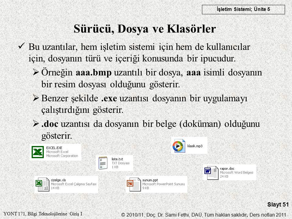 YONT 171, Bilgi Teknolojilerine Giriş I © 2010/11, Doç.