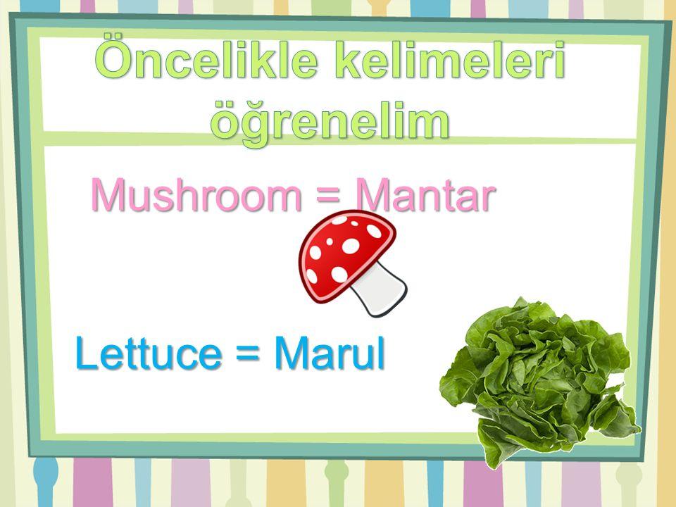 Garlic = Sarımsak Cucumber = Salatalık