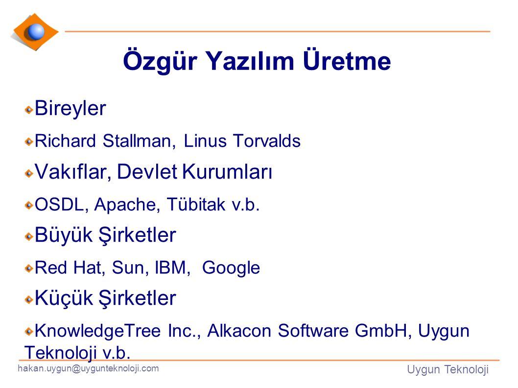 hakan.uygun@uygunteknoloji.com Uygun Teknoloji Özgür Yazılım Üretme Bireyler Richard Stallman, Linus Torvalds Vakıflar, Devlet Kurumları OSDL, Apache, Tübitak v.b.