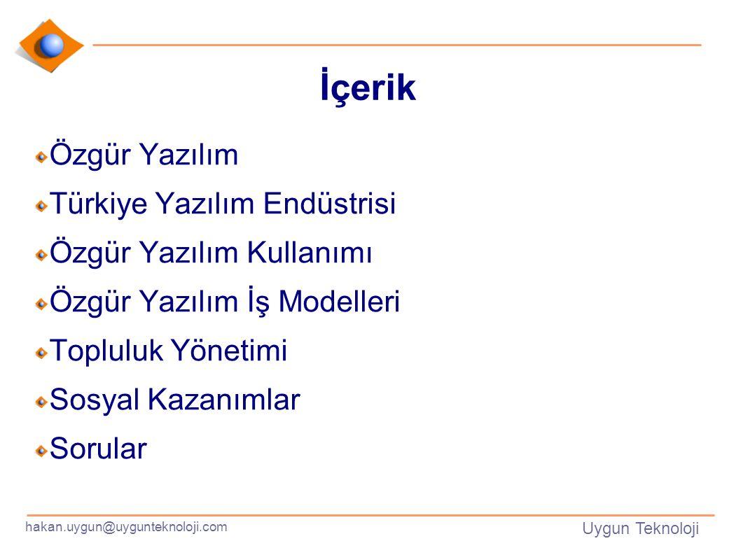 hakan.uygun@uygunteknoloji.com Uygun Teknoloji İçerik Özgür Yazılım Türkiye Yazılım Endüstrisi Özgür Yazılım Kullanımı Özgür Yazılım İş Modelleri Topluluk Yönetimi Sosyal Kazanımlar Sorular
