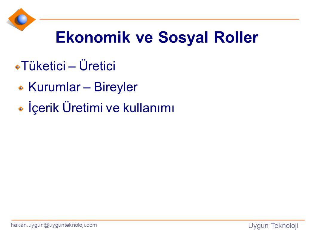 hakan.uygun@uygunteknoloji.com Uygun Teknoloji Ekonomik ve Sosyal Roller Tüketici – Üretici Kurumlar – Bireyler İçerik Üretimi ve kullanımı