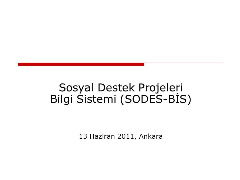 Sosyal Destek Projeleri Bilgi Sistemi (SODES-BİS) 13 Haziran 2011, Ankara