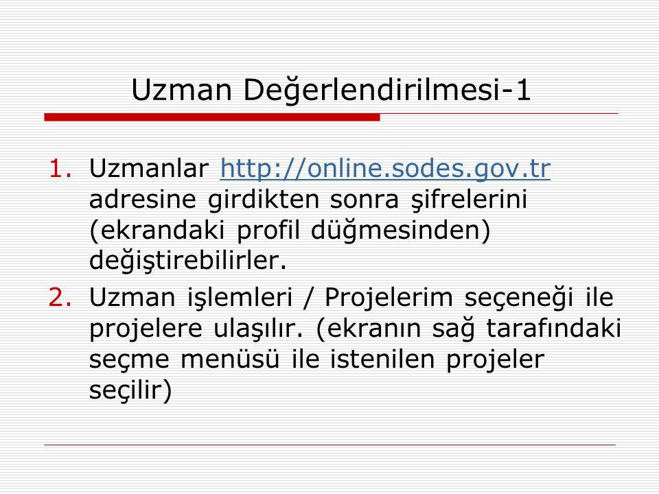 Uzman Değerlendirilmesi-1 1.Uzmanlar http://online.sodes.gov.tr adresine girdikten sonra şifrelerini (ekrandaki profil düğmesinden) değiştirebilirler.http://online.sodes.gov.tr 2.Uzman işlemleri / Projelerim seçeneği ile projelere ulaşılır.