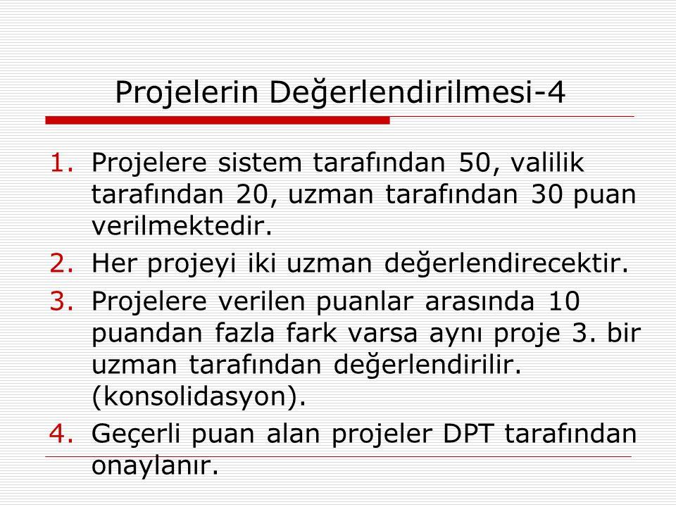 Projelerin Değerlendirilmesi-4 1.Projelere sistem tarafından 50, valilik tarafından 20, uzman tarafından 30 puan verilmektedir.