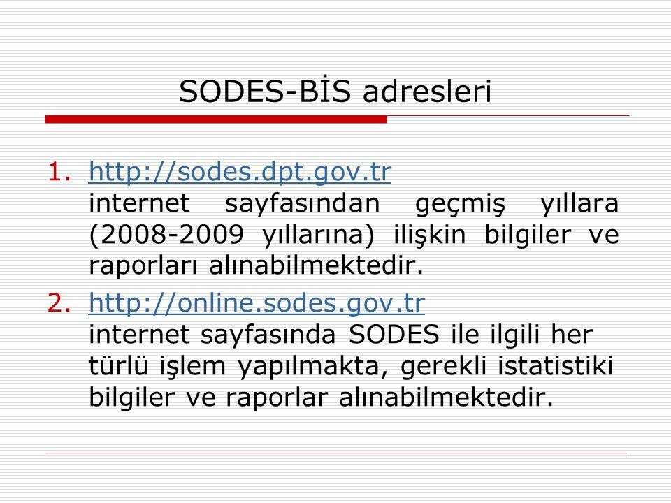 SODES başvurularının yapılması 1.SODES projelerinin gerçekleştirme süreci bilgisayar ortamında takip edilmektedir.
